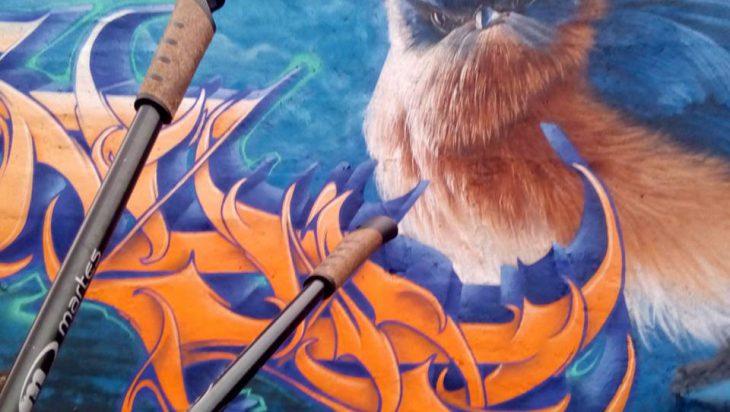 Z głową zrobione grafiti zdobią byłe wiadukty wąskotorówki.