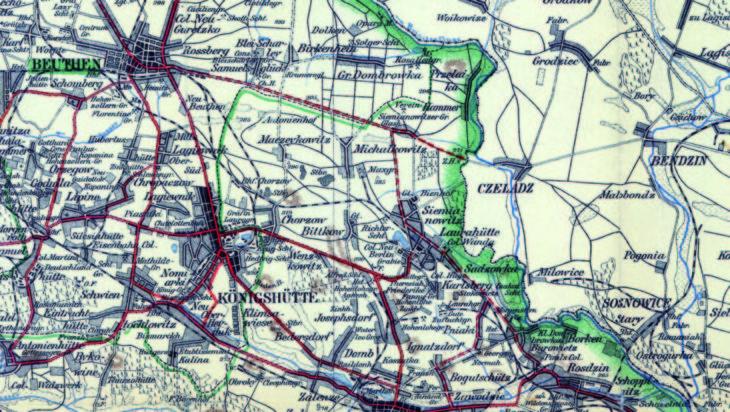 Mapa z 1903 roku: wtedy planowano by Laurahutę i Siemianowice Polczyk z Mysłowicami, Bytomiem i z Katowicami przez Dąbrówkę Małą i Bogucice. Projekt ten zaznaczono linią przerywaną.