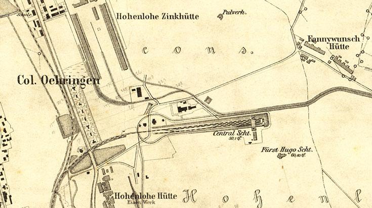 mapa siemianowice katowice, niemiecka