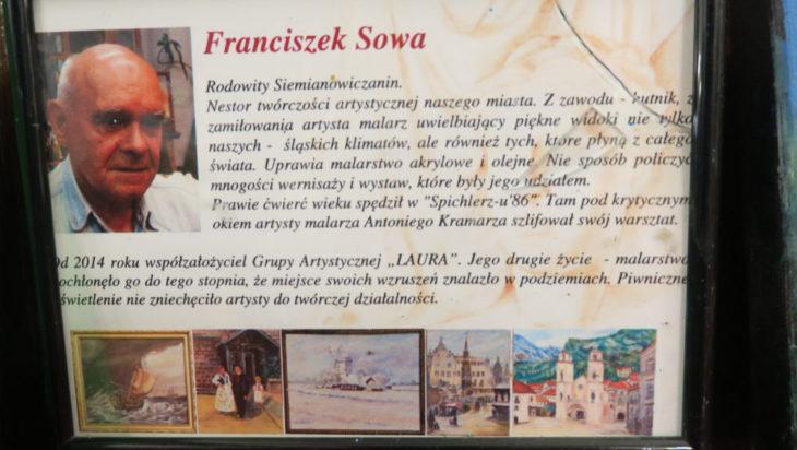 """Nestor Grupy """"Laura"""", były górnik Franciszek Sowa i jedna z jego prac."""