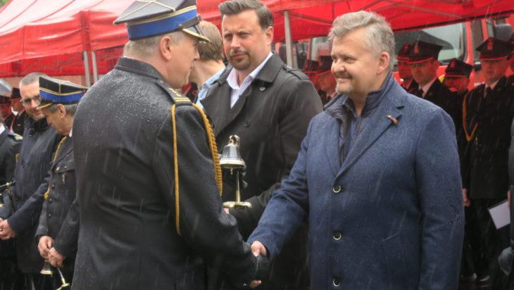 Strażacki dzwon dla Piotra Komrausa, prezesa Wodociągów Siemianowickich.
