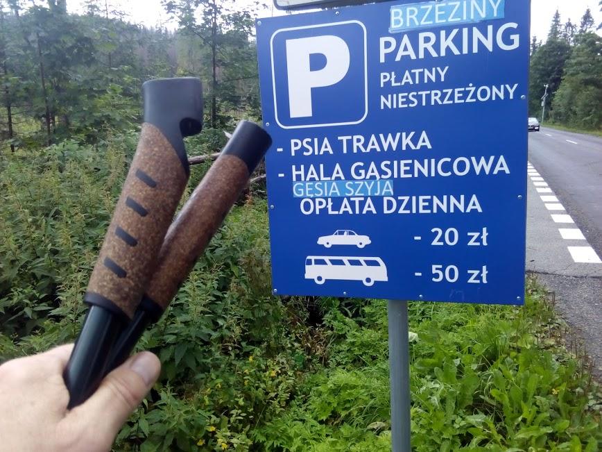 Ceny za parkowanie. Parking przy drodze Balcera na Morskie Oko.