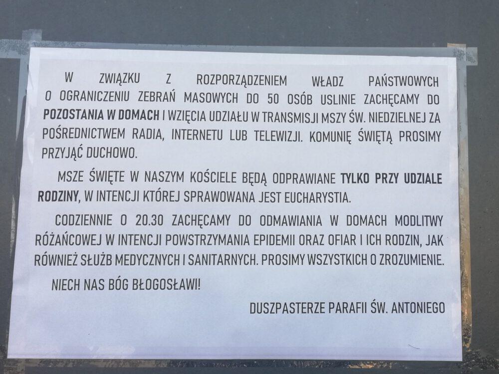 Ogłoszenie w kościele pw. św. Antoniego z Padwy