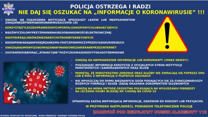Policja ostrzega – nie daj się oszukać na informacje o koronawirusie !