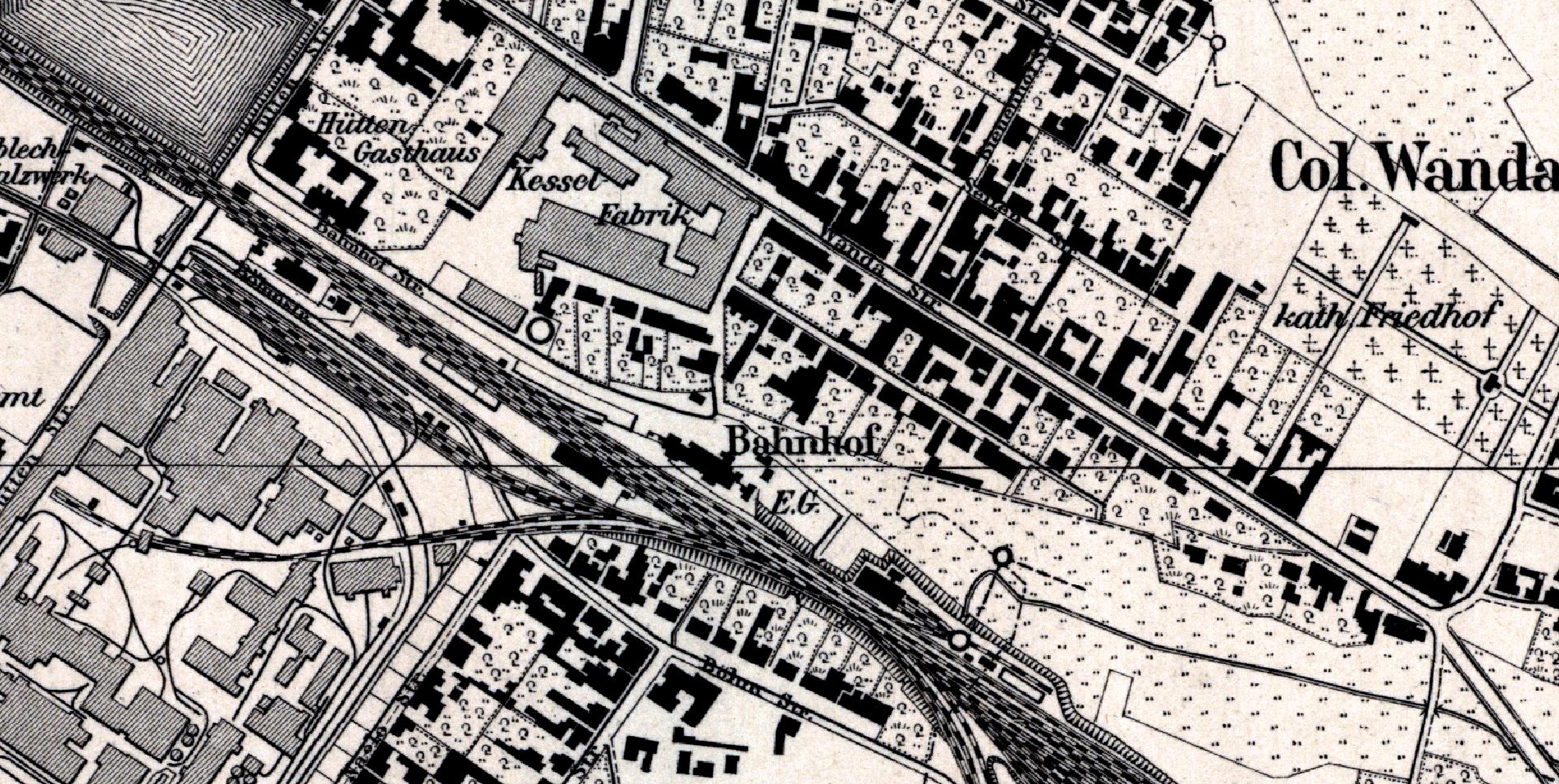 4. Zabudowania stacyjne na planie z 1883 r.