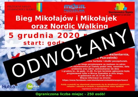 Siemianowice: ODWOŁANY ! Bieg Mikołajów i Mikołajek oraz Nordic Walking