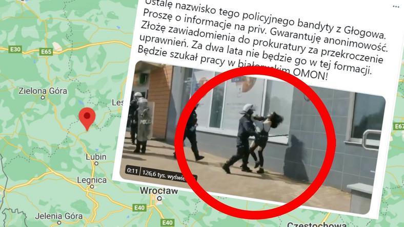 policjant bije kobietę
