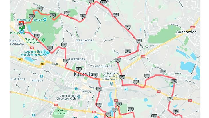 trasa silesia marathon 2021 w siemianowicach
