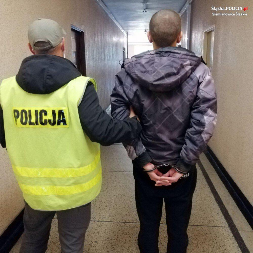 wyrodny syn zatrzymany przez policjanta