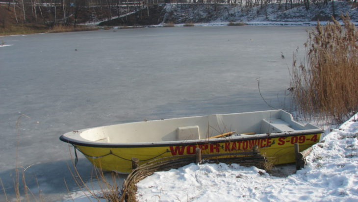 Łódka, na akwenie wodnym Rzęsa w Siemianowicach Śląskich