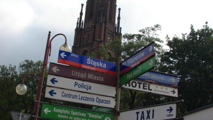 Rondo początkowe ul. Śląskiej. Skrzyżowanie z ulicami Szpitalną, Powstańców i Fitznerów.